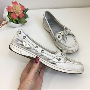 Sperry Top-Sider slip on white leather sliders